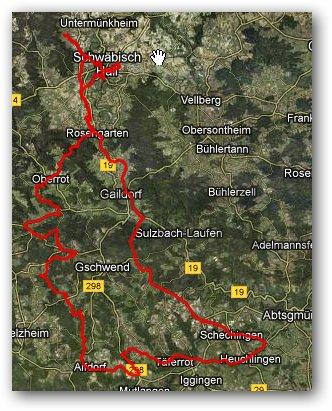 Karte Radausfahrt Alfdorf