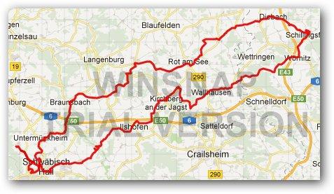 Karte Radausfahrt Schillingsfürst
